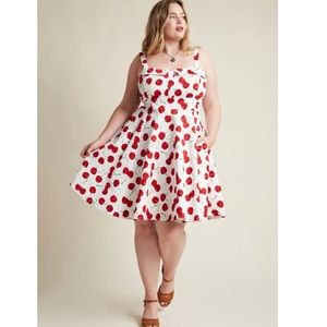 ModCloth Pull Up a Cherry A-Line Dress in White